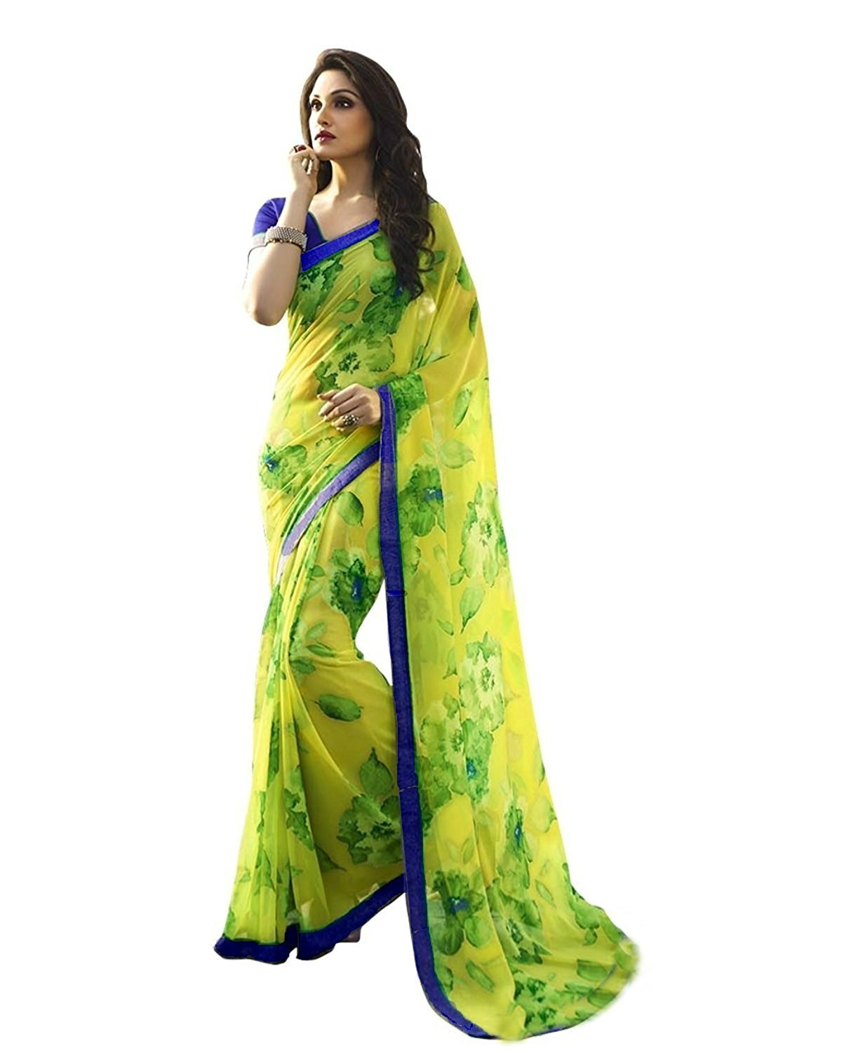 bd8836391 Vedant Vastram Women s Premium Georgette Printed Saree With Blouse Piece  (Green Colour)