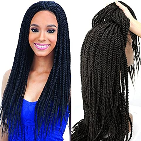 PlatinumHair Synthetic Lace Front Wig Black Handmade Collectionh Braids Heat Resistant Glueless for Women Synthetic wigs 24