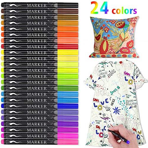 Textilstifte, RATEL 24 Farben Wasserfeste Textilmarker Keine Blutung ungiftig Stoffmalstifte Permanent Marker, Ideal zum Dekorieren von T-Shirts, Lätzchen, Textilien, Schuhen, Handtaschen