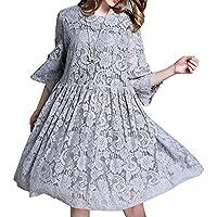 MCC Donne abito in pizzo grandi dimensioni di lunghezza media manicotto centrale camicia Hollow , gray , xxl