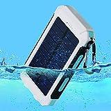 10000mAh Solar Power Bank, Solar Ladegerät, Externer Akku mit superhelle Taschenlampe, Akku pack für Handy (Weiß-Blau) - 4