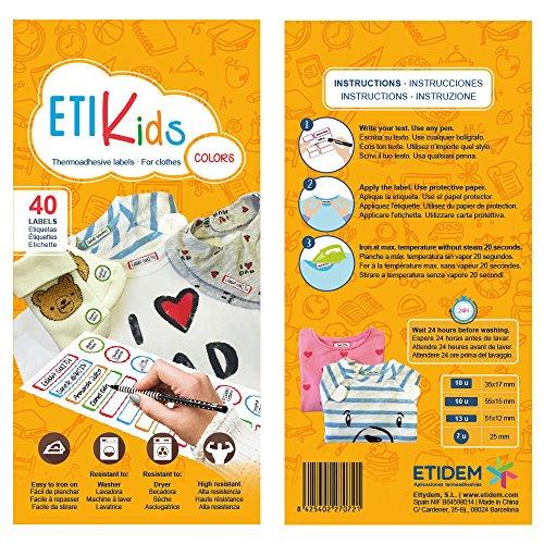 Etikids 40 Etichette termoadesive da STIRARE. Formati e colori vari, per contrassegnare indumenti, vestiti dei bambini a scuola ed asilo. (COLORS) - 4