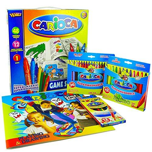 Carioca 41546 - Game Station Valigetta Composta da 48 Pennarelli Super Lavabili, con 12 Matite Colorate e 1 Album da Colorare