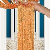 Unbekannt Fadenvorhang Fliegenschutz Türvorhänge im Tautropfen Design als Raumteiler Oder Festliche saisonale Dekoration (Höhe: 200cm Breit:100) (Orange)