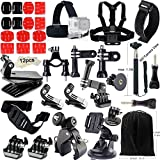 Action Camera Accessory Kit, Iextreme 48-in-1 Attachment Combo for Gopro Hero 1/2/3/4, SJ4000 / SJ5000 / SJ6000 / SJ7000, Xiaomi Yi - Chest Harness + Head Strap + Monopod + Tripod Mount Adapter + Suction Cup + Clip + Jaws Clamp + Handlebar Mount + Quick Release Buckle + 3-way Pivot Arm + Wristband + Pouch