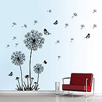 decalmile Stickers Muraux Pissenlit et Papillon Autocollant Mural Chambre Salon Bureau Décoration Murale (Noir)
