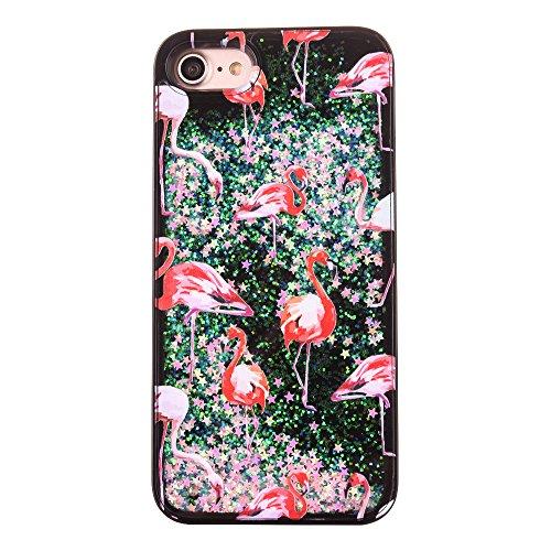 iPhone 7 Plus Hülle-Aohro 3D Kreativ Muster Transparent Hard PC Back Case Handytasche für Apple iPhone 7 Plus(5.5 Zoll)Glitzer Schwarz Sterne Star Fließen Flüssig Flüssigkeit Handyhülle Handy Hülle Ca Flamingo