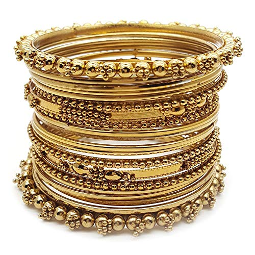 Efulgenz Indian Bollywood Traditional Wedding Jewellery Oxidised Gold Plated Designer Bangles Set for Women and Girls