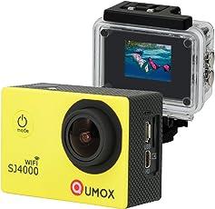 QUMOX WIFI Actioncam SJ4000 Action Sport Kamera Camera Waterproof Full HD 1080p Video Helmkamera Gelb mit Verbesserten Batterien und Zubehör Kits und Wasserdichtes Gehäuse