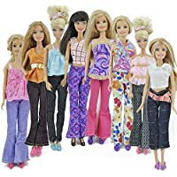 Set of Barbie Sindy doll sized 5x trouser outfits, winter coat, 10 shoes & 10 hangers - posted from London - Fat-Catz