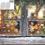 Pegatinas de Navidad, Atmósfera romántica Xmas copos de nieve Ventana Adhesivos Calcomanías para la fiesta de Navidad Decoración para el hogar 4 hojas, 108 copos de nieve