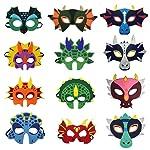 Odowalker Safari Jungle Animal Felt Masks Wild Animal Face Woodland Creatures Theme Cosplay Camp Birthday Party Favors...