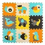 meiqicool Puzzle Play Mat – piezas de Puzzle entrelazado promover el desarrollo sensorial visual – suave bebé piso Mat – 9 azulejos con imágenes animales vibrantes para capturar la atención de los niños-espuma EVA Mat 014