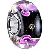 Materia, perline in vetro di Murano, con fiori, nero e viola, in argento 925, ciondolo in vetro con zirconi #1248
