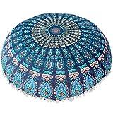 Winkey Baumwollleinen, neuestes Design Indische Mandala Kissen Runde Bohemian Home Kissen Kissen Cover Case Kissen, 43x 43cm, h, 43*43cm