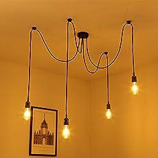 Vintage Pendelleuchte, Elfeland E27 4 Lichter Retro Industrielle  Deckenleuchte Höhenverstellbar Hängeleuchte Mit 3 Adrigem