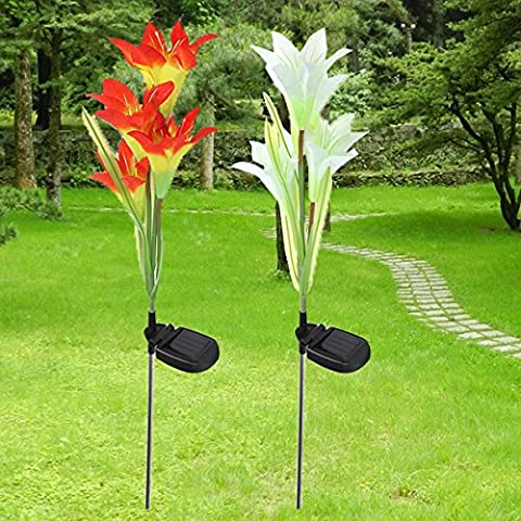 Solar 4 LED Lily Flower Light Outdoor Garden Lawn Color