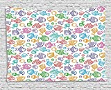 daawqee Kids Tapestry Colorful Doodle Style Fish Figures with Happy Faces and Bubbles Under The Sea Aquarium for Living Room Bedroom Dorm 80 W X 60 L inches Unique Home Decor