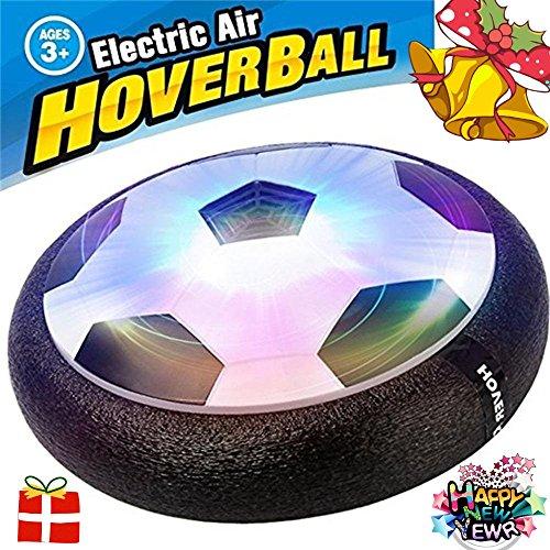 Kinder Air Power Fußball Jungen Mädchen Sport Spielzeug Kinder Training Fußball Indoor Outdoor Disk Hover Ball Schaumstoff Spiel mit Stoßstangen und Light Up LED-Lichter, schwarz -