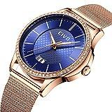 CIVO Damen Uhren mit Edelstahl Mesh Armband Wasserdicht Datum Kalender Luxus Mode Armbanduhr mit Zifferblatt Elegant Geschäfts Beiläufig Analog Quarz Uhren für Damen (Blaues)