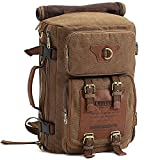 S-ZONE 3 - Ways Vintage Canvas Laptop Backpack Travel Rucksack Handbag Camping Backpack Shoulder Messenger Bag Satchel School Bags Crossbody Daypack