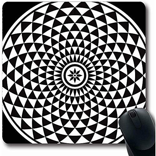 Mauspads Radial Schwarz Antik Weiß Zirkular Fraktal Abstraktes Muster Optisch Geometrisch Boden Escher Symmetrisch Büro Gummi Spielmatte Rutschfeste Mausunterlage Computer Laptop Mousepad 25X30cm -