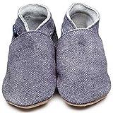 Inch Blue Mädchen/Jungen Schuhe für den Kinderwagen aus luxuriösem Leder - Weiche Sohle - Einfarbig Dunkles Jeansblau