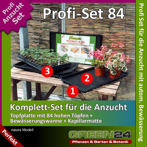 Anzucht-Set 84-PRO - automatische Bewässerung. 84er Topfplatte + Wasserwanne + Kapillarmatte für die Vermehrung aus Samen oder Anzucht von Stecklingen und Jungpflanzen