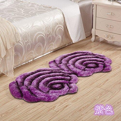Preisvergleich Produktbild Lx.AZ.Kx Fußmatte Dreidimensionale Rosen Matten Hochzeit Teppich Schlafzimmer Bett in der Einhaltung der Decke Double-Take 70 cm * 140 cm, lila