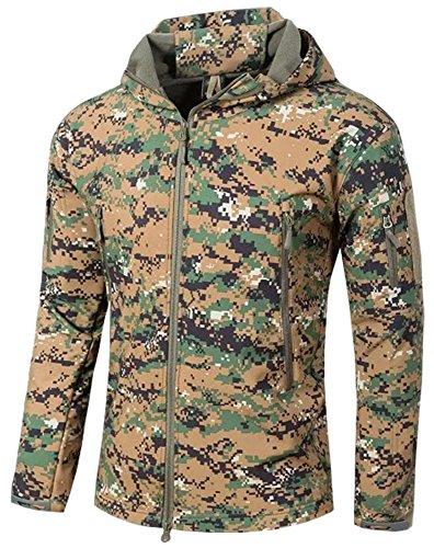 TACVASEN Militär Jacke Herren Wasserdicht Armeejacke Taktische Tactical Jacke Men\'s Airsoft Paintball Camo Combat Jacket Digital