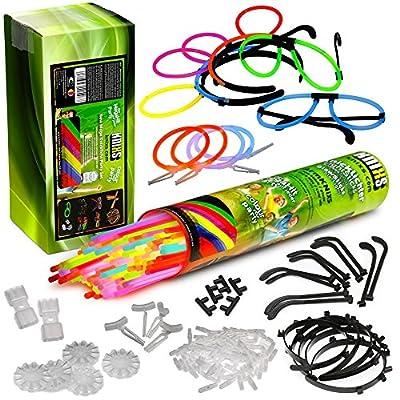 Mega de lumière à craquer Party Pack-100bâtons phosphorescents KNIXS, 100x 3D connecteur, 5x cercle connecteur, 2x 7trous connecteur, 4boucles d'oreilles, 5serre-tête, 5Lunettes