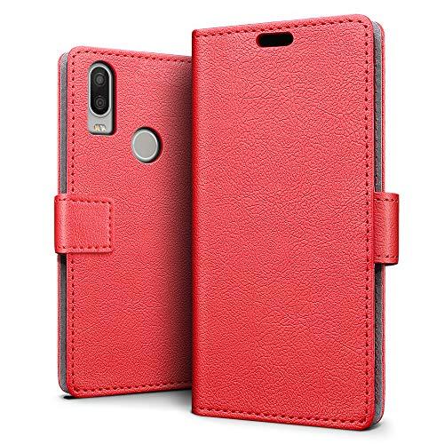 SLEO BQ Aquaris X2 / X2 Pro Hülle, PU Leder Case Tasche Schutzhülle Flip Case Wallet im Bookstyle für BQ Aquaris X2 / X2 Pro Cover - Rot