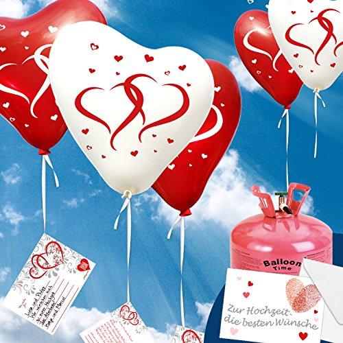 """50x Herzballons """"mit Herzen"""" rot/weiß Ø30cm + Geschenkkarte + PORTOFREI mgl. + Helium & Ballongas geeignet. High Quality Premium Ballons vom Luftballonprofi & deutschen Heliumballon Experten. Luftballon Deko zur Hochzeitsfeier und tolles Luftballon Geschenk zur Hochzeit."""