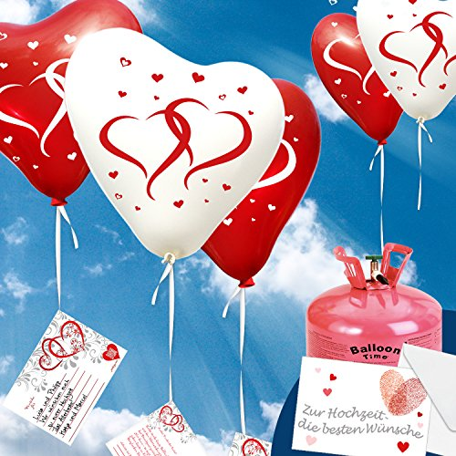 "50x Herzballons \""mit Herzen\"" rot/weiß Ø30cm + PORTOFREI mgl. + Helium & Ballongas geeignet. High Quality Premium Ballons vom Luftballonprofi & deutschen Heliumballon Experten."