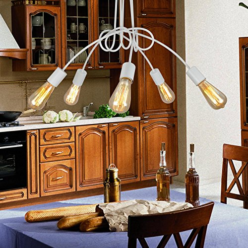 luce europea soffitto stile semplice ed elegante, E26 / 27 5 - testa plafoniera, plafoniera moda per soggiorno (bianco)