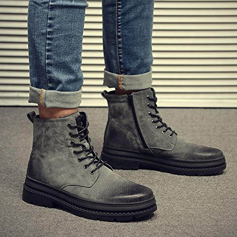 HL-PYL-Zapatos de hombre Martin botas zapatos altos All-Match mate.,44,gris