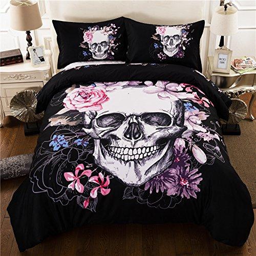 Juego de cama de 3 piezas con diseño de calavera con flores, que recuerda a Halloween, con funda de edredón y dos fundas de almohada, con impresión en 3D, poliéster, negro, King-220X240cm