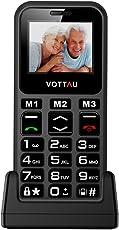 Senioren handys ohne vertrag, VOTTAU E09 einfaches Handy Quad-Band-GSM-Mobiltelefon Großtastenhandy Einfach zu bedienendes mit einzelnes-SIM und Notruffunktion mit SOS-Taste