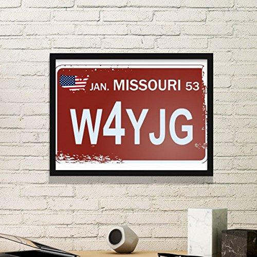 DIYthinker Usa American Car License Plate Nummer Missouri Illustration Muster Einfacher Bilderrahmen Kunstdrucke von Paintings Startseite Wandtattoo Medium Schwarz