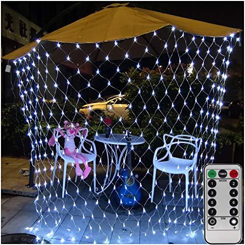 Lichterketten Netz Batterie Netz beleuchtung,1.5m x 1.5m 100 LED-Netz-Baumwickel Lampen Dekorative Lichterketten für Hochzeit Außen Innen Camping BBQ Geburtstag-Fernbedienung,8-Modu,Timer,Dimmbar,Weiß