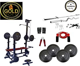 Gold Fitness 20 In 1 Bench +100 Kg Pure Rubber Weight + 5 Ft (25mm) Plain + 3 Ft (20Mm) Curl Rod + Gym Accessories