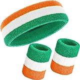 3 Pezzi Fascia Set, Include Sport Fascia per Capelli e Polsino di Sport Cotone a Strisce Bande di Sudore per Atletica Uomini e Donne (Arancione, Bianco e Verde)