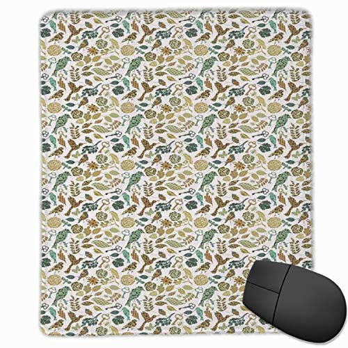 Mouse Mat Stitched Edges, Birds Dragonflies And Keys In Foliage Themed Image On Bullseye Heart Background,Gaming Mouse Pad Non-Slip Rubber Base -