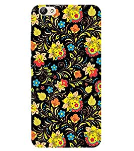 For Vivo Y66 flower, floral design, black background Designer Printed High Quality Smooth Matte Protective Mobile Case Back Pouch Cover by Paresha