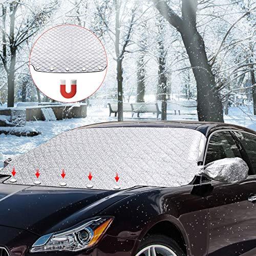 SanGlory Frontscheibenabdeckung Auto Windschutzscheiben Abdeckung Magnet Scheibenabdeckung Faltbare Autoabdeckung Winter Scheibe Abdeckung gegen UV-Strahlung Schnee EIS Frost und Sonne(147x116cm)