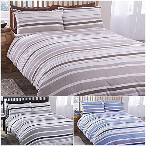 Pieridae Geo Parure de lit avec housse de couette drap-housse et taie d'oreiller Noir/Bleu/Marron à rayures, 50 % coton, 50 % polyester, noir, King