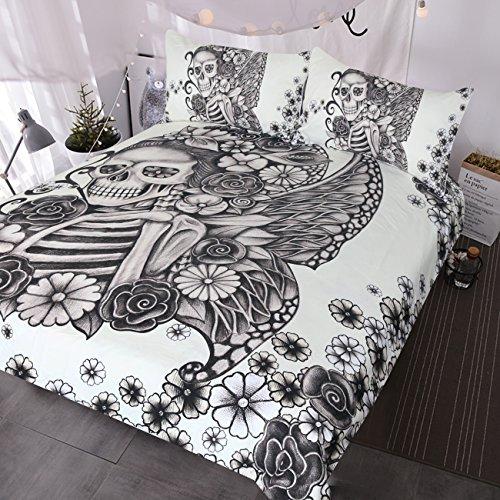 BlessLiving Gothic Totenkopf Bett Set Retro Schmetterling Rose Totenkopf Tröster Cover 3teilig Schwarz und Weiß Skelett Tagesdecke Vintage Bettwäsche Bettbezug Twin (Bettwäsche-set Vintage Twin)
