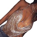 Vestiti da donna, MEIbax Donne sexy Gilet scollo a V capestro catena senza schienale con paillettes camicia vestiti sciolti (L, Rosa oro)