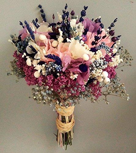 Ramo de novia con rosa, lila y azul