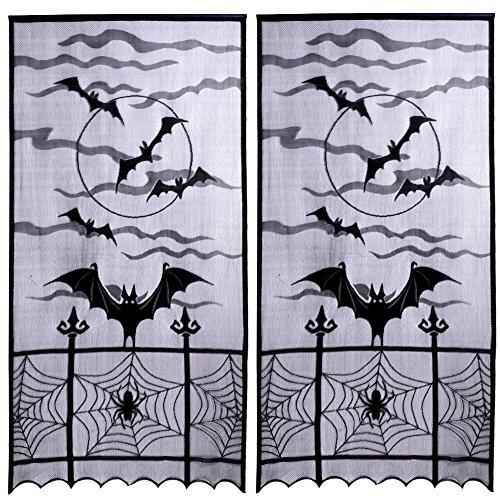 XONOR 2 Piezas de Tela de araña de Encaje de Halloween Cortinas de murciélago - Perfecto para Halloween, Noches de película de Miedo, Fiesta Festiva Suministros decoración del hogar (101cm x 213cm)